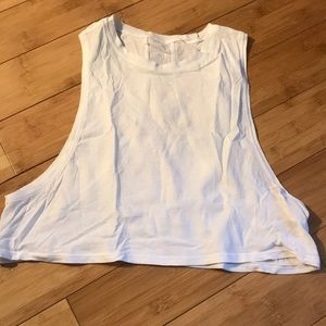 White cropped muscle tank